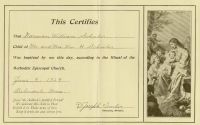 SCHULER, Norman William - Baptismal Certificate - 1929