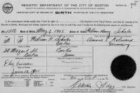 SCHULER, William Henry, Jr. - Birth Certificate - 1905