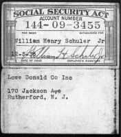 SCHULER, William Henry, Jr. - Social Society Card, 5 Dec 1936
