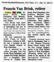 VAN BRINK, Francis 'Frank' - Obituary