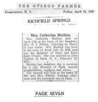 WRIGHT, Catharine - Obituary - The Ostego Farmer 19 Apr 1935 p7